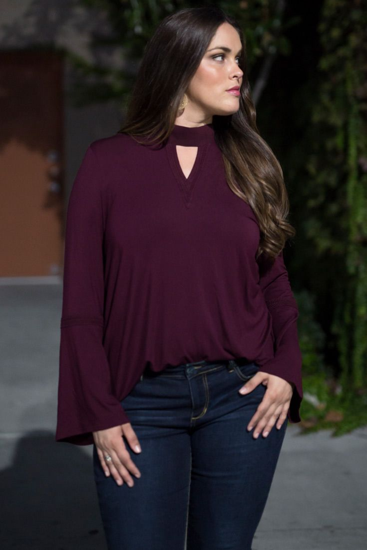 Our Ainsley Top by Lysse has all the bohemian vibes you'll want for fall. Macrame detailing, slight bell sleeves and a Georgette back tie make this top an essential piece for your boho wardrobe. www.kiyonna.com
