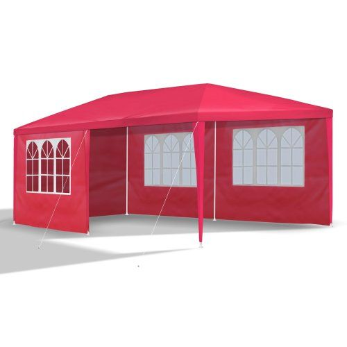 Garden pavilion 3 x 6 m, pavilion for party, hobby or other events with 6 sidewalls, 110G PE