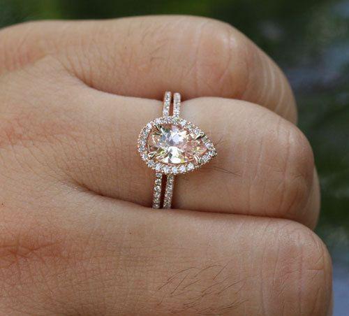 14k Rose Gold 9x6mm Morganite Pear Engagement Ring and Diamond Wedding Band Set $739.00