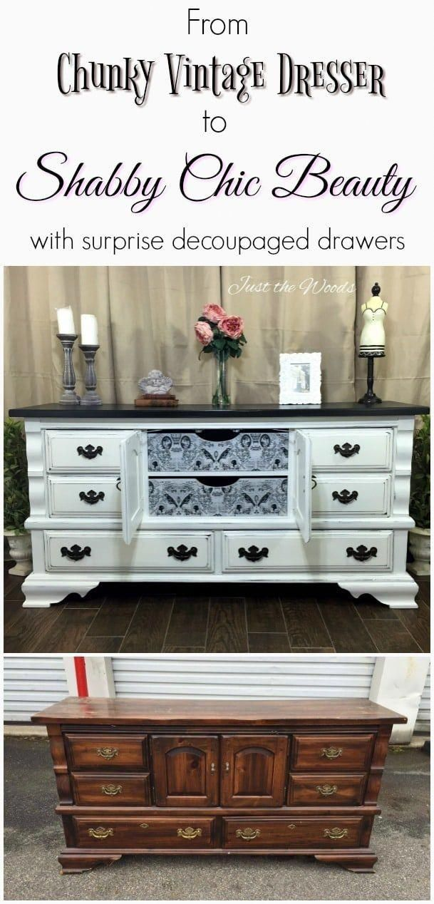 Vintage Painted Dresser With Surprise Decoupaged Drawers Distressed Off White In A Shabby Chic Finish Dark Brown Top