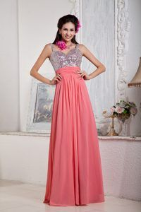 Straps Floor-length Watermelon Chiffon Extravagant Prom Dresses with Beading