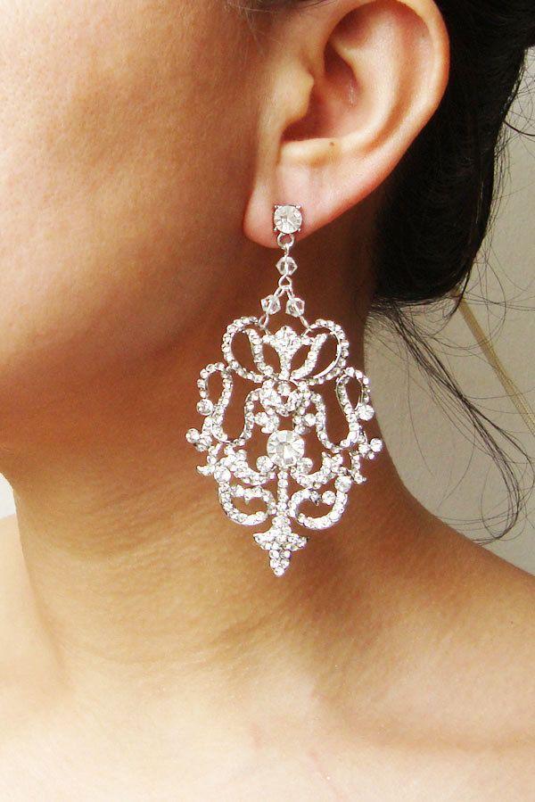Dramatic Rhinestone Chandelier Earrings, Vintage Bridal Wedding Chandelier Earrings, Vintage Bridal Wedding Jewelry, ANTONIA. $88.00, via Etsy.