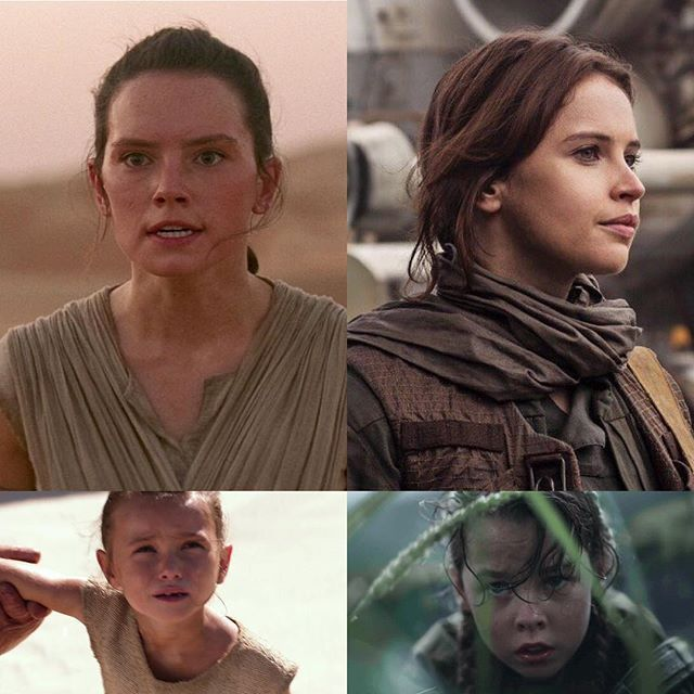 Rey and young Rey....Jyn and young Jyn.  The casting directors of TFA and Rogue One deserve credit (Nina Gold and Jina Jay respectively). They did a terrific job.  Cailey Fleming, who plays an 8 year old young Rey in the Force vision flashback, did a nice job.  Beau Gadsdon plays an 8 year old young Jyn who really resembles Felicity (even Felicity complimented Jina Jay in finding Beau who she said has the same looking buck teeth as she does).