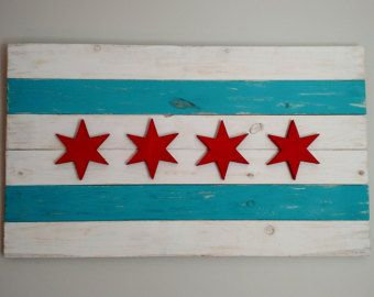 Handmade Rustic Chicago Cubs W Flag  Chicago by WindyCityWoodshop