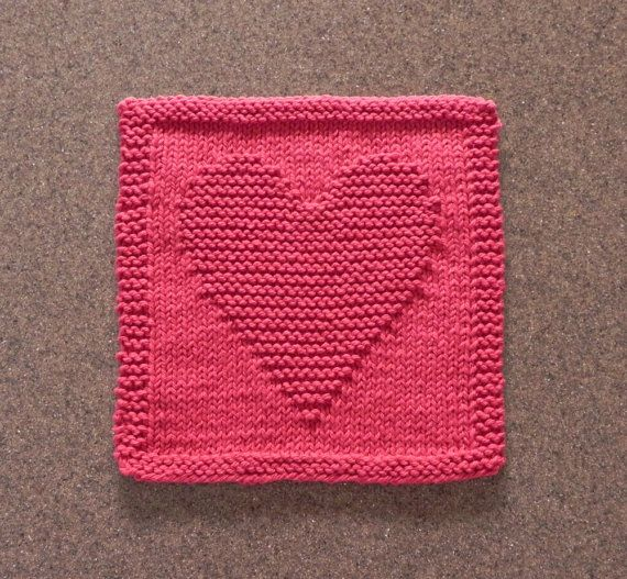 Knit Dishcloth - HEART Hand Knitted Design - Country Red - 100% Cotton Dish Cloth / Wash Cloth. Hostess or Housewarming gift idea!