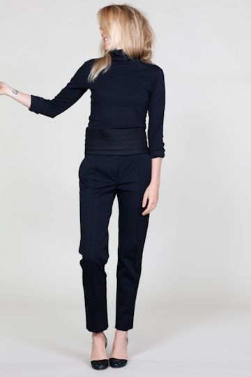 Black formal cigarette pants with poloneck - simple elegant with heels.