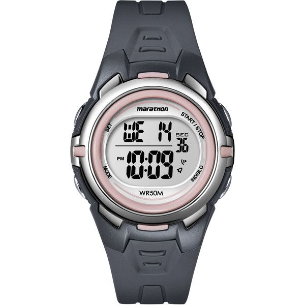 Timex T5K360M6 Women's Marathon Digital Mid-size Dark Grey/ Pink Watch (€15) ❤ liked on Polyvore featuring jewelry, watches, grey, pink wrist watch, digital wristwatch, digital watches, timex watches and pink watches