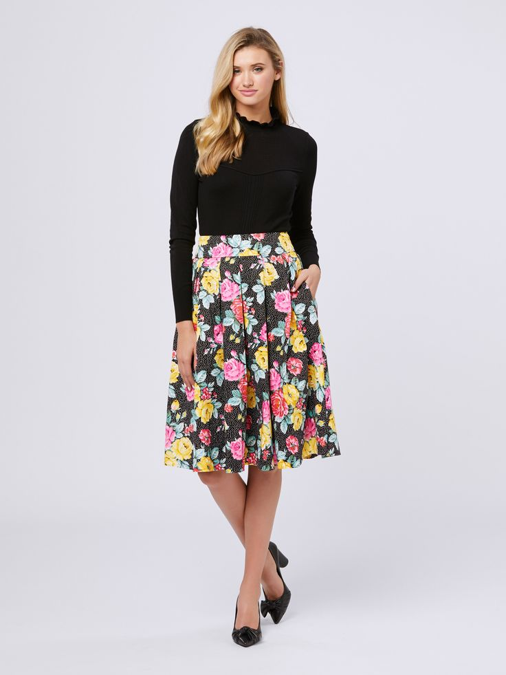 Garden Soiree Skirt | Black & Multi | Skirt Monarchy Jumper |Black | Jumper
