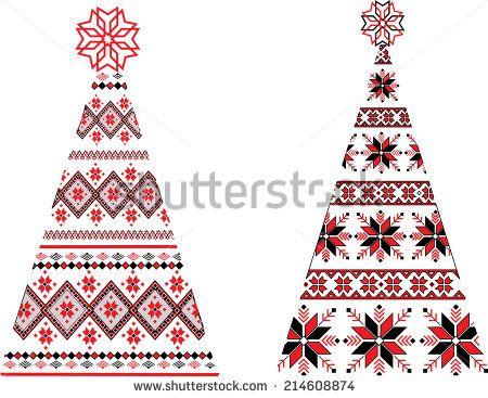 Ukrainian Christmas trees - stock photo