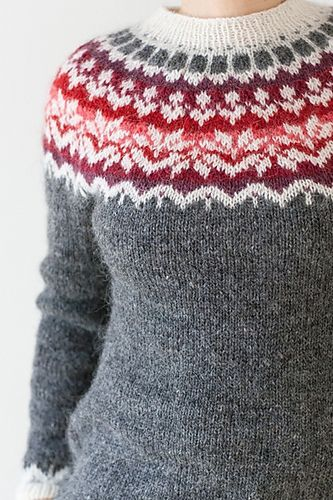 Ravelry: Afmæli - 20-year anniversary sweater pattern by Védís Jónsdóttir. I really like this, it's a beautiful pattern.