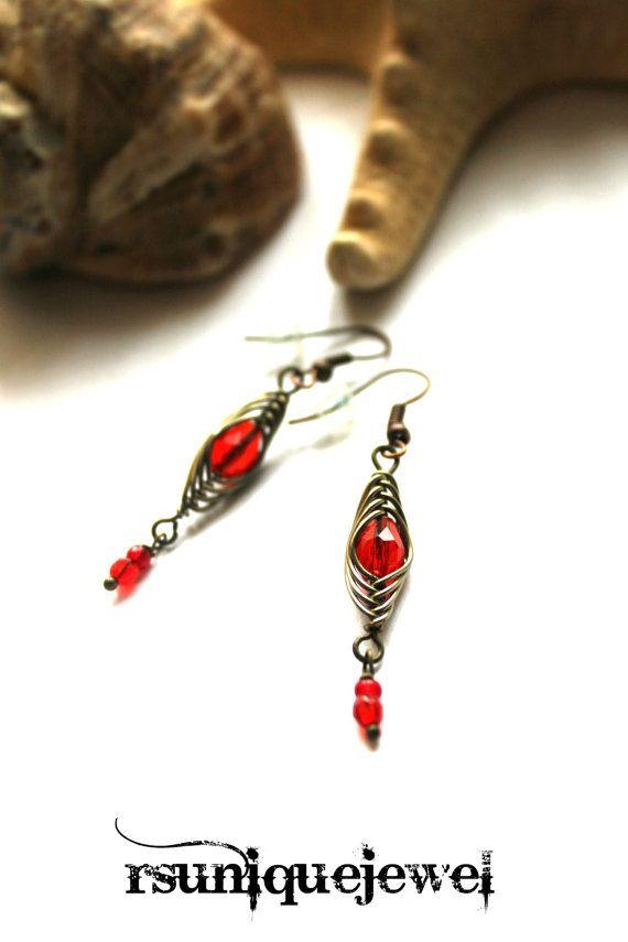 Wire Wrapped Red Earrings Drop Earrings Dangle by rsuniquejewel