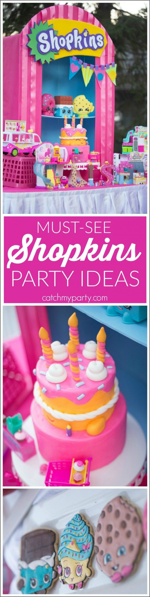 Incredible Shopkins party ideas including dessert table, cake, cookies, decor and more! Use these when planning your next girl birthday party! | CatchMyParty.com