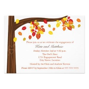 20 Autumn / Fall Engagement Party Invitations http://www.wowpartyinvites.com/invitation-shop/20-autumn-fall-engagement-party-invitations