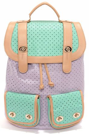 Hole-y Moly Perforated Lavender and Mint Backpack at Lulus.com!