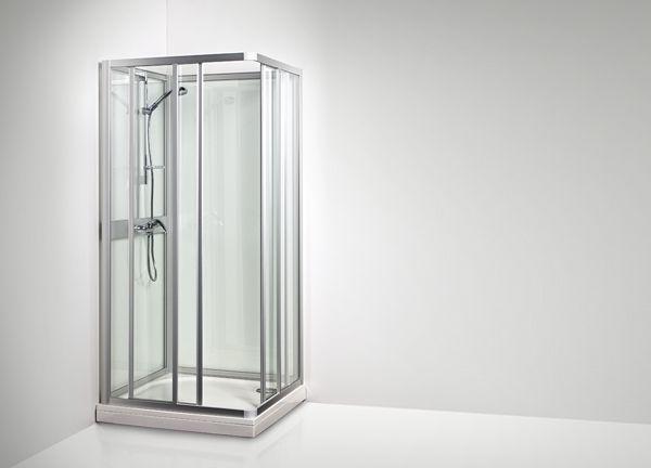 KARIBIA SK -suihkukaapin kulmassa sijaitsevat liukuovet mahdollistavat asentamisen myös hankalaan paikkaan.