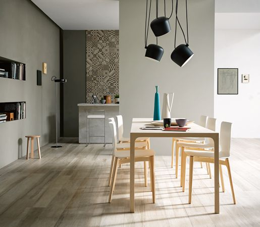 DIY Small Dinning Spaces Marazzi's Treverkchic mimics the look and feel of natural fine wood graining with easy-care porcelain.#interior