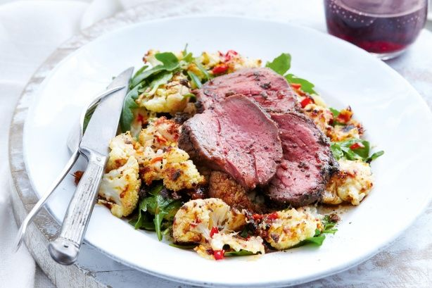 Quick roast beef with chilli parmesan cauliflower - Plate up a tasty meal in no time with this quick roast beef served with chilli parmesan cauliflower.