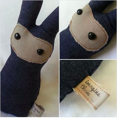 Handmade Denim Bunnies from our new Industrial Collection https://www.facebook.com/imaginethemtoyshop