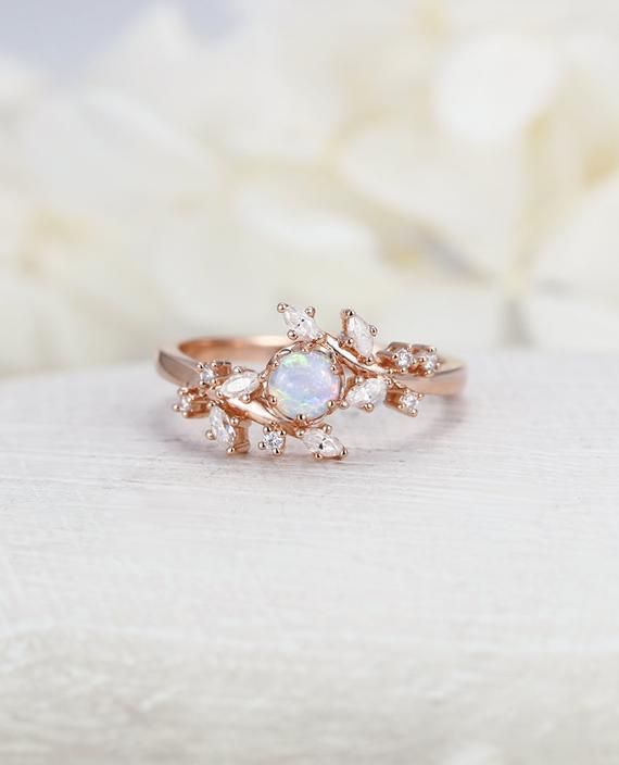 Opal engagement ring Rose gold engagement ring Diamond Cluster ring Unique Delicate leaf wedding women Bridal set Promise Anniversary Gift – Wedding