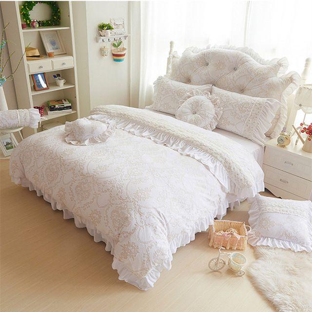 Branco / bege / rosa / roxo / cor vermelho princesa capa de edredão set flanela / tecido de lã inverno / Autum cama - set 3 / 4 pcs frete grátis