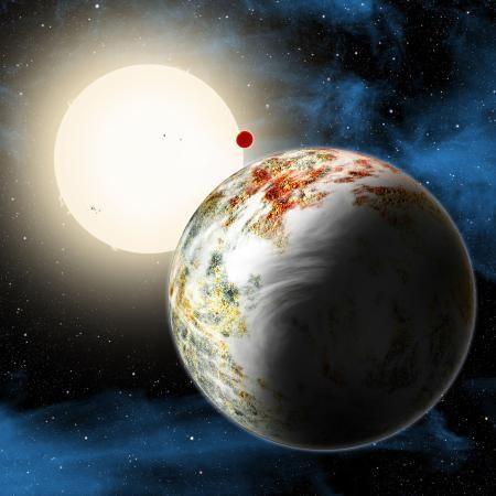 巨大な地球型惑星「ケプラー10c」(手前)の想像図。中央上の小さな赤い点は別の惑星(ハーバード・スミソニアン天体物理学センター提供)