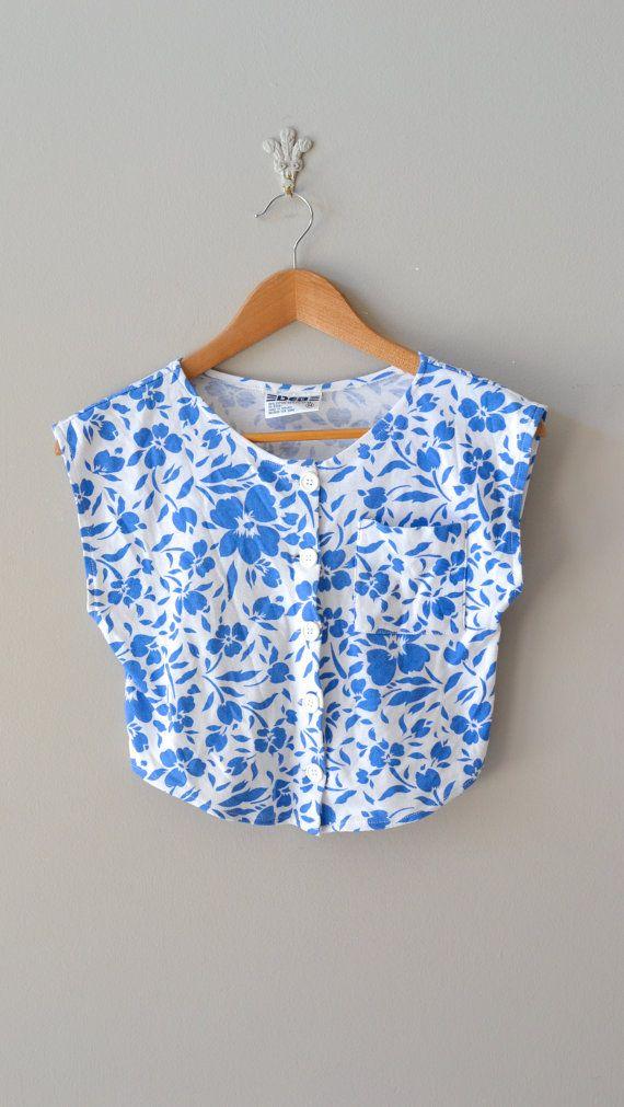 vintage floral blouse / floral crop top / Petites Fleurs