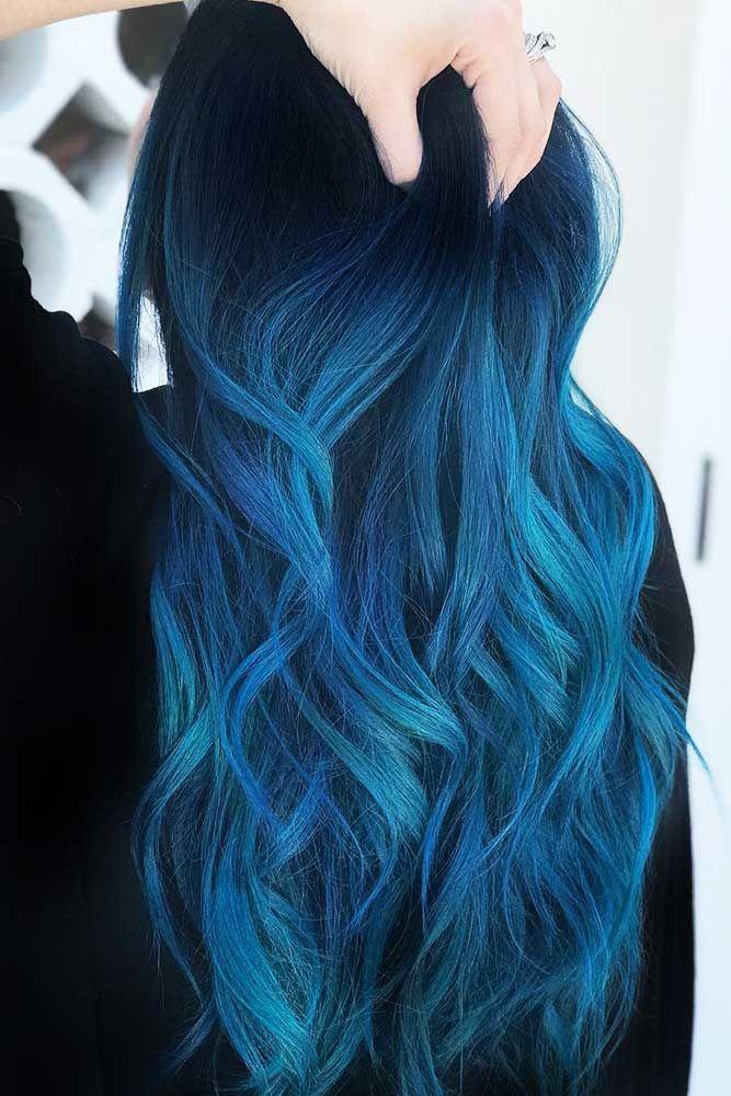 Hair Color 2017/ 2018      Indigo Blue Black #bluehair #ombre #brunette ❤️ B…