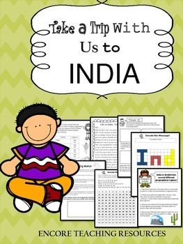 """Encore Teaching Resources' """"Take a Trip With Us to India"""" takes students on an adventure to the country of India. This product includes 20 pages (18 activity + 2 teacher guide) of interactive exploration! Students will go on a scavenger hunt to find out more about this country."""
