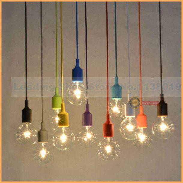 Pas cher Nouveau design E27 lampe prise Chandelier luminaire suspendu ligne de couleur titulaire de Silicone pendentif ( ampoules contient pas ), Acheter  Éclairage suspendu de qualité directement des fournisseurs de Chine:                  Nouvelle coloré gel de silice E27 support de lampe pour pendentif lampe DIY lampes plafonnier