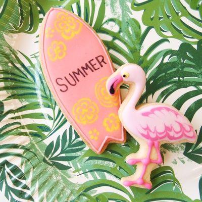 surfer & flamingo cookies
