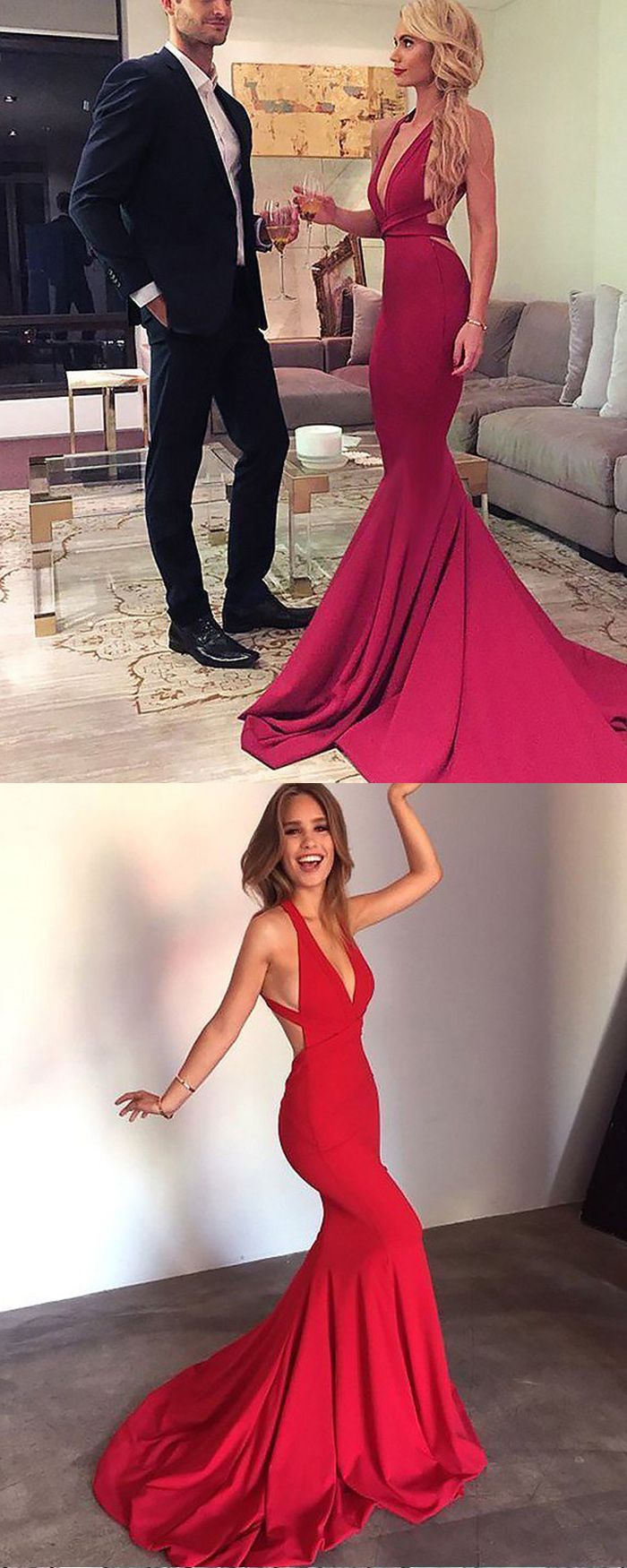 Convertible Long Simple Satin Red Mermaid Prom Dress PM in