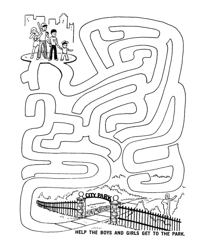maze activity sheet channel maze kids go to the park - Kid Activity Pages