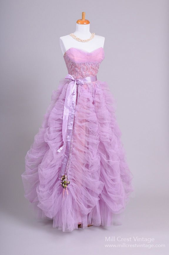 1950's Lilac Tulle and Lace Strapless Vintage Evening Gown