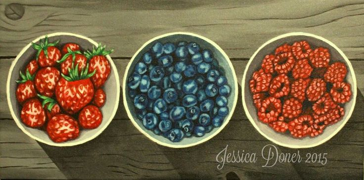 "Fruit Bowls, Acrylic painting, 10""x20"""