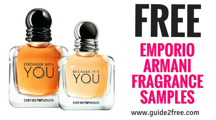 Hurry and request 2 FREE Emporio Armani Fragrance Samples!  Be one of the first to try the magnetic BECAUSE IT'S YOU for her and the charming STRONGER WITH YOU for him, two scents inspired by love and made for the both of you.Because It's You is happy, delicious and sparkling: simply irresistible like a ripe raspberry in its perfect and most elegant naturalness when combined with neroli notes.