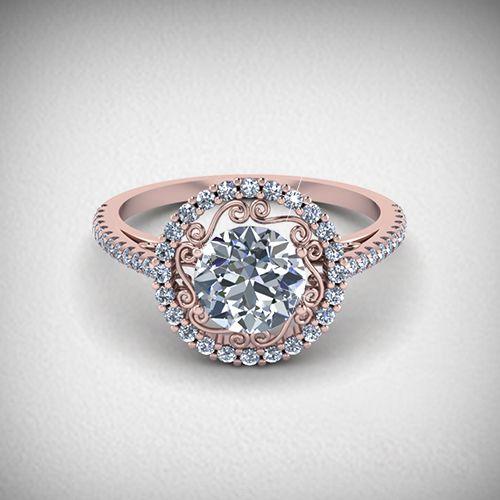 Intricate Design Rose Gold Round Diamond Engagement Ring