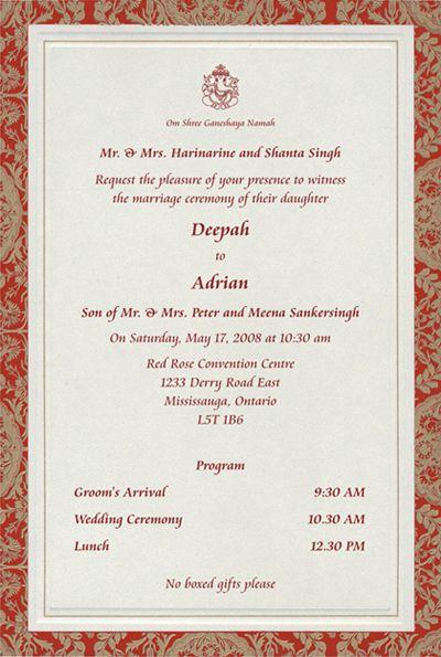 48 best Hindu Wedding Invites images on Pinterest Invites, Gold - fresh invitation card samples baby 21st day ceremony