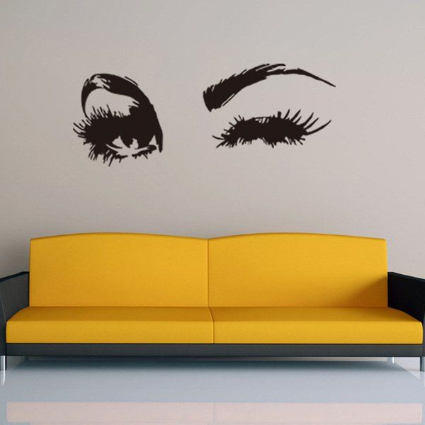 $3.46 Creative Home Decoration Girl's Eyes Design Removable Wall Art Sticker