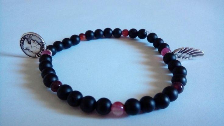 black and pink handmade bracelet