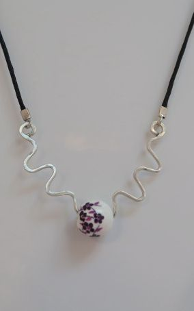 Silver Squiggle and Bead Necklace