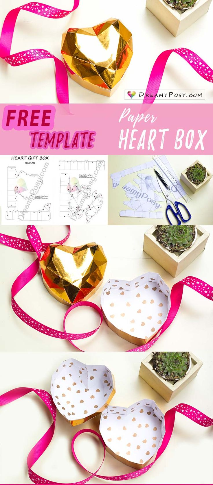 Make your 3D heart box for Valentine's Day with my free template, just more than 1 hour to complete. So easy and you could custom your size, color, theme. #lowpoly #heartbox #papercraft #paperheart #valentine