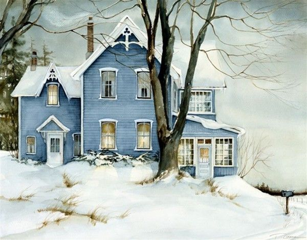 Charming house, even if it's in watercolor and not photography. Trisha Romance, artist, was born in Hamburg, New York in 1951.