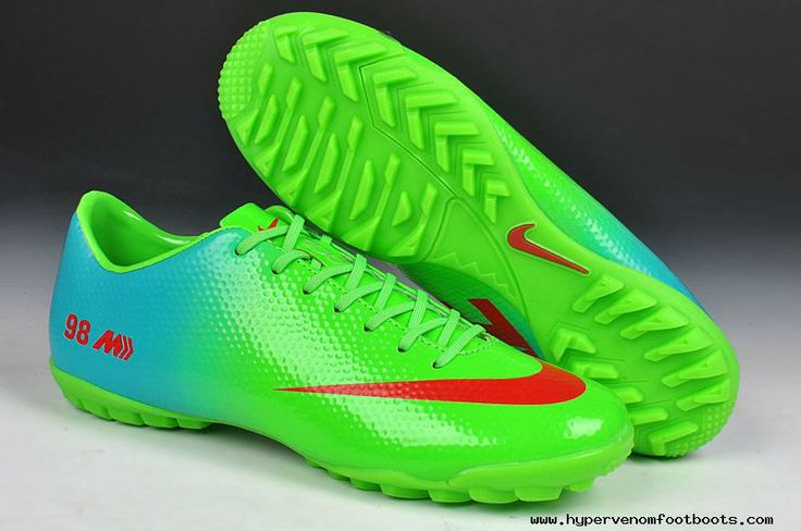 2014 World Cup Nike Mercurial Veloce TF Boots Green Red Blue 98 Edition  2013 Soccer Cleats