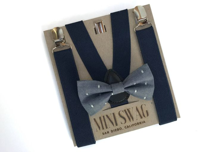Navy Blue Suspenders and Blue Chambray Bow Tie, Boys Wedding Outfit, Ring Bearer Outfit, Toddler Boy Gift Ideas, Boy First Birthday Outfit by MiniSwagTextiles on Etsy