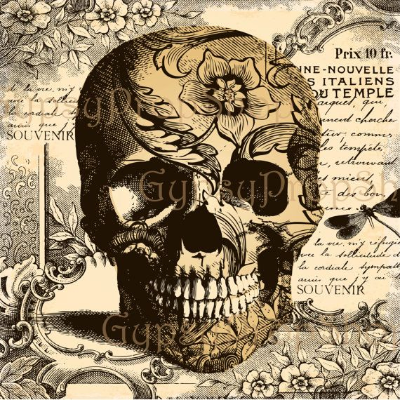 intage Halloween Skull on Antique Paper Art    High Res Image Instant Download - PLEASE NOTE: You will not receive a physical product.  Will not