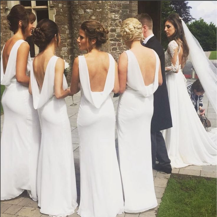 Backless Beauties in Ivory Maids to Measure 'Regent' Dresses www.maidstomeasure.com #bridesmaids#maidstomeasure#backless#ivory#bridesmaiddresses