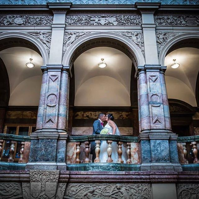 Lovely shot of Natalie and Paul at the Sheffield Town Hall #sheffield #townhall #weddingphotography #weddingday #wedding