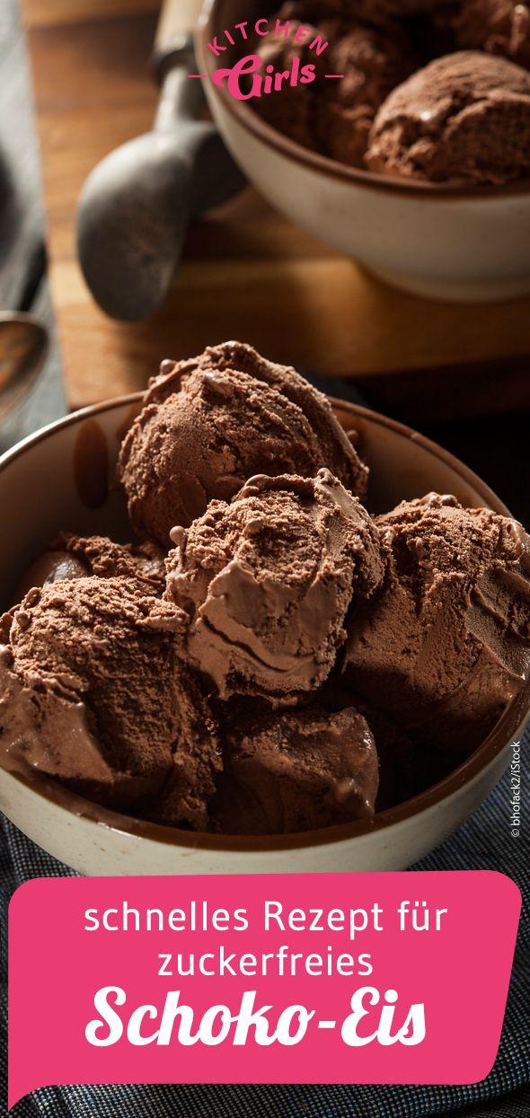 Schnelles und einfaches Rezept für zuckerfreies Schoko-Eis.