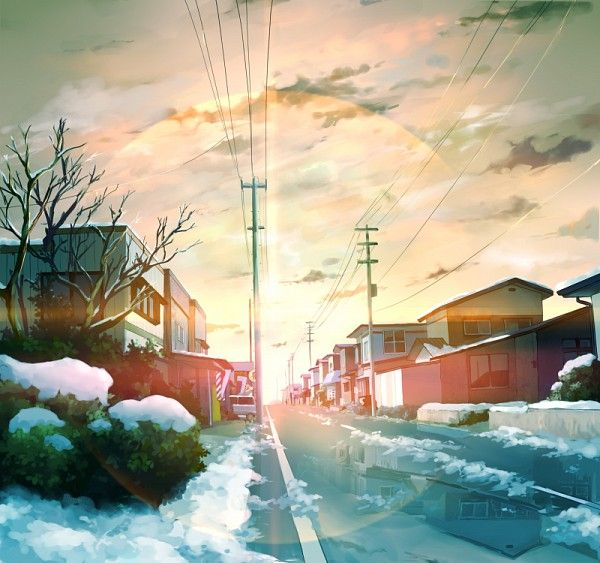 Tags: Anime, Sunset, City, Rain, Winter, Street, Scenery
