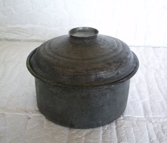 Retired old Turkish cookware, lidded stock pot from hand hammered copper.  Weathered rustic kitchenware stands 8 tall counting the lid (20 cm) and